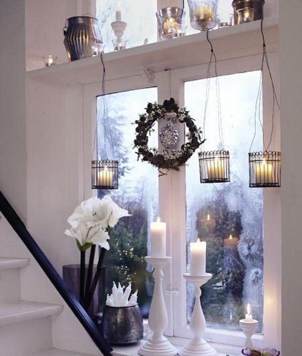 украшение окна фонариками