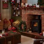 Новогоднее украшение интерьера в деревенском стиле